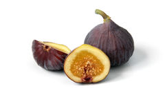 Fresh ripe common figs cut through to show the flesh and seeds stock photos