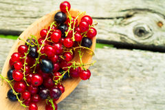 Fresh ripe currant berries bowl on wooden table background Stock Photo