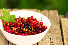 Fresh ripe currant berries bowl on wooden table background Royalty Free Stock Image