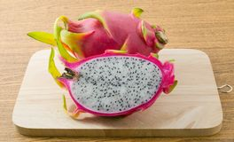 Fresh Ripe Dragon Fruit on Cutting Board Royalty Free Stock Images