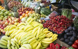 Fresh and ripe fruit. In market street royalty free stock photo