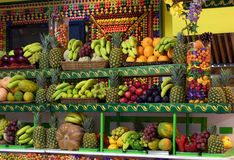 Fresh ripe fruits, grocery store, food background. Fresh ripe juicy fruits and vegetables at a local store in Barcelona, Spain. Food background stock photography