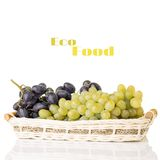 Fresh ripe Grapes in Wicker basket Royalty Free Stock Images