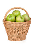Fresh ripe green apples in basket Stock Image