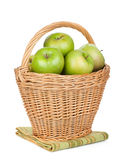 Fresh ripe green apples in basket Royalty Free Stock Image