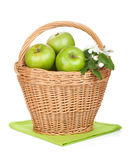 Fresh ripe green apples in basket Stock Photos