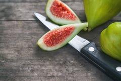 Fresh ripe green figs Stock Photos