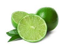 Fresh ripe green limes. On white background stock photos