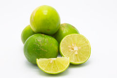 Fresh ripe green limes on white Royalty Free Stock Images