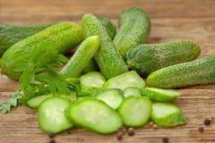 Fresh ripe green organic cucumbers Royalty Free Stock Photo