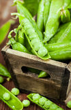 Fresh ripe green peas stock photography