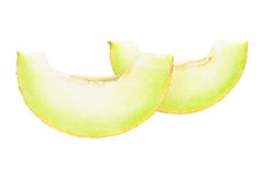 Fresh Ripe Honeydew Melon Slices. Over white background Royalty Free Stock Images