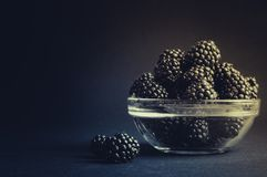 Fresh Ripe Juicy Blackberries in a plate on black background.  Royalty Free Stock Images