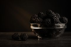 Fresh Ripe Juicy Blackberries in a plate on black background.  Royalty Free Stock Photography