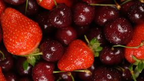 Fresh, ripe, juicy cherries and strawberries background, close up berry, rotation zoom out. Food background. Gastronomy concept, organic food stock video