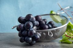 Fresh ripe juicy grapes in colander. On table royalty free stock images
