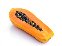 Fresh ripe juicy papaya slice on white background Royalty Free Stock Photos