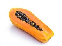 Fresh ripe juicy papaya slice on white background Royalty Free Stock Photos
