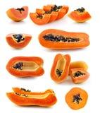 Fresh ripe juicy papaya slice  on white background Royalty Free Stock Photography