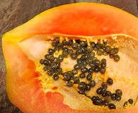 Fresh ripe juicy papaya slice Stock Photos