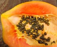 Fresh ripe juicy papaya slice Stock Photos