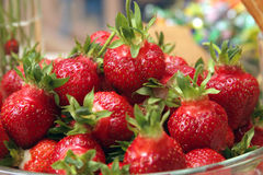 Fresh Ripe and Juicy Strawberries. Close up of a bowl of fresh, ripe, juicy red strawberries stock photography