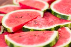 Fresh sliced watermelon wooden background stock photos