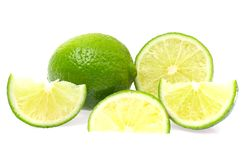 Fresh Ripe Lime, Isolated on White Background. Stock Photos