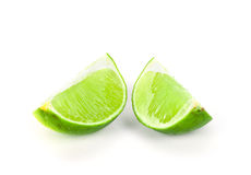 Fresh ripe lime on white background. Tropical fruit Stock Images