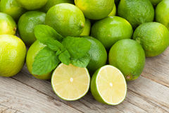 Fresh ripe limes with mint Stock Photo