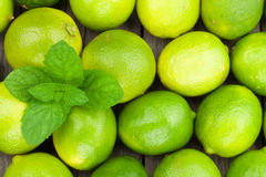 Fresh ripe limes with mint Royalty Free Stock Photo