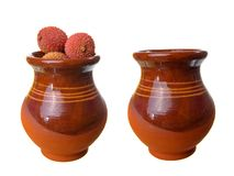 Fresh ripe litchi in jug Stock Photo