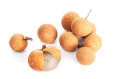Fresh ripe longan. Isolated on the white background stock photo