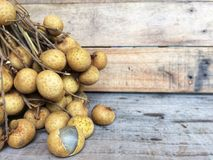 Fresh ripe longan and peel show the white meat. royalty free stock photography
