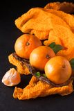Fresh ripe mandarins with mint on wood bark bowl, orange textile on black background. Modern dark mood style. Vertical banner. Clo. Seup photography. Selective stock image