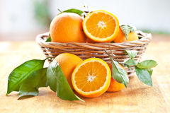 Fresh ripe oranges. In a vintage basket Stock Photography