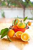 Fresh ripe oranges. In a vintage sieve Royalty Free Stock Photography