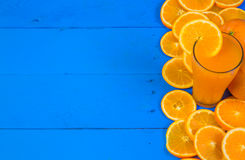 Fresh ripe oranges on wooden table. Top view with copy space Stock Photo