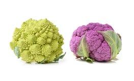 Fresh ripe organic broccoli and cauliflower. Isolated on white background Royalty Free Stock Images