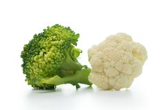 Broccoli and cauliflower isolated on white background Stock Images