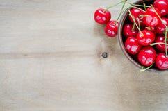 Fresh ripe organic cherries in plate. Stock Photo