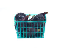 Fresh ripe organic figs. In green plastic basket isolated on white background Royalty Free Stock Image