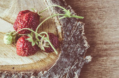 Fresh ripe organic strawberry on wooden background. Vintage rustic style and color tinting. Selective focus Royalty Free Stock Photo