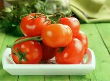 Fresh ripe organic tomatoes Royalty Free Stock Photos