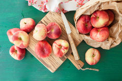 Fresh ripe peaches. In a paper bag Stock Photography