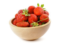 Fresh Ripe Perfect Strawberry. Fresh Ripe Perfect Strawberriy in wooden bowl isolated on white background Stock Image