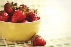 Fresh ripe perfect strawberry at the plate. Royalty Free Stock Image