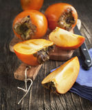 Fresh ripe persimmons Stock Photography
