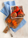Fresh ripe persimmons Stock Photo