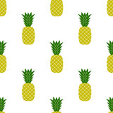 Fresh Ripe Pineapple Seamless Pattern Stock Images